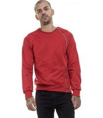 blusa moletom premium masculina zíper lateral vermelha offert