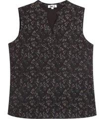 blusa m/s flores negras color negro, talla 10
