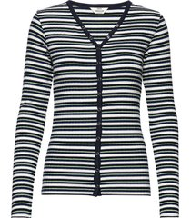 5x5 dream stripe carolla short stickad tröja cardigan blå mads nørgaard