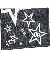 dolce & gabbana black and white star printed leather card holder