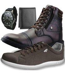 kit dhl calçados bota + sapatênis + relógio + carteira slim masculino - masculino