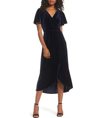 women's chelsea28 velvet faux wrap midi dress, size small - blue