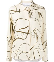 victoria beckham belt print long-sleeved shirt - neutrals