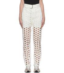 laser cut polka dot belted jeans