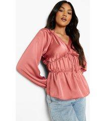 matte satijnen blouse met strik, rose