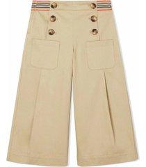 burberry honey cotton trousers