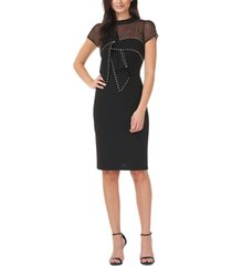 js collections embellished illusion sheath dress