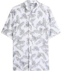 camisa con estampado hojas color blanco, talla l