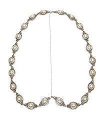 tiara headpiece articulada pérola - prata
