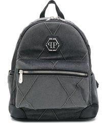 philipp plein matelassé zipper backpack - black