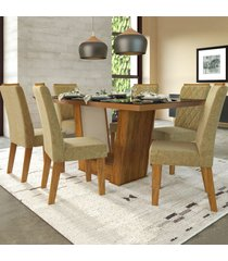mesa de jantar 6 lugares condessa cedro/areia/preto - viero móveis