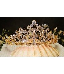 bridal gold plated tiara austrian crystals t-016-b