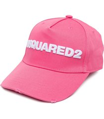 dsquared2 embroidered-logo six-panel cap - pink