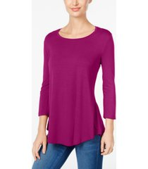 jm collection petite 3/4-sleeve solid top, created for macy's