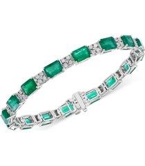 effy emerald (15-1/5 ct. t.w.) & diamond (1/3 ct. t.w.) tennis bracelet in 14k white gold
