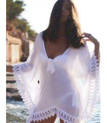 blusa de encaje blanco playa de la libertad