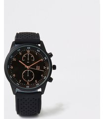 river island mens black plastic perforated strap round watch