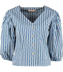 gemini print cotton blouse