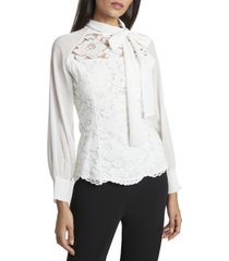 tahari asl tie-neck chiffon & lace top