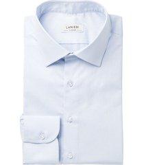 camicia da uomo su misura, grandi & rubinelli, natural stretch azzurra torino, quattro stagioni | lanieri