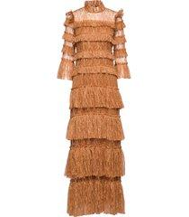 carmine maxi dress maxiklänning festklänning brun by malina
