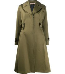 marni flared midi coat - green