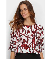 blusa cropped top moda ampla estampada