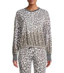 vintage havana women's leopard dip-dyed puff-sleeve sweatshirt - leopard - size m