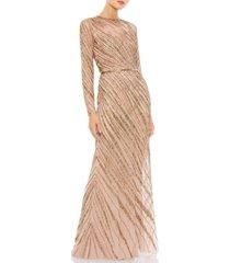 mac duggal embellished mesh gown