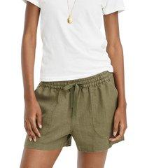 women's j.crew point sur seaside linen blend shorts, size x-small - green