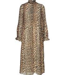 pleated georgette dress jurk knielengte beige ganni