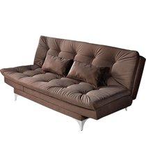 sofá cama 3 lugares versátil império estofados marrom