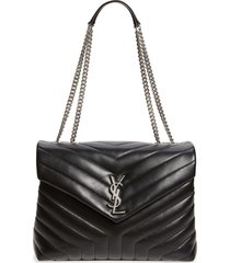 saint laurent medium loulou matelasse leather shoulder bag - black