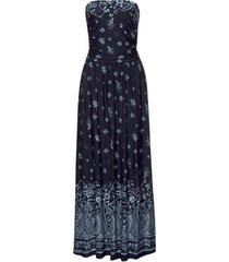 lange jurk lascana marine blauw strapless zomer maxi jurkje