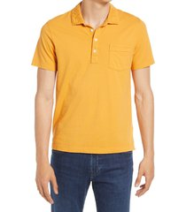 billy reid pensacola solid cotton polo shirt, size large in faded orange at nordstrom