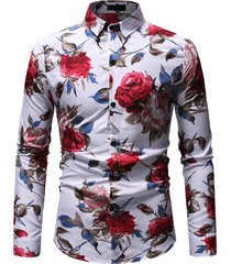 mens business casual flower stampa cotton button down stampa floreale sottile camicia