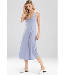 natori fleur nightgown, women's, blue, cotton, size xl natori