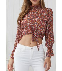 burdeos plisado diseño calico high cuello top corto de manga larga