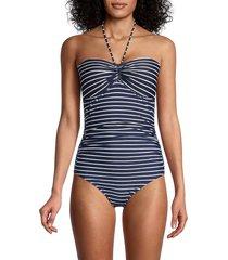 tommy hilfiger men's striped halterneck one-piece swimsuit - sky captain - size 8
