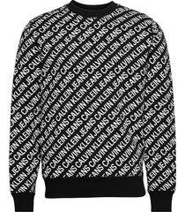 aop diagonal logo crew neck sweat-shirt tröja svart calvin klein jeans