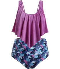 floral leaf ruched flounce plus size tankini swimsuit