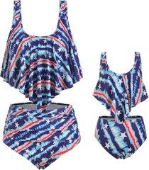 american flag overlay ruffles family plus size tankini swimsuit