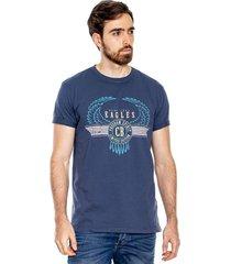 camiseta cuello redondo con estampado localizado en frente color blue
