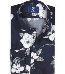 r2 shirt donkerblauw met bloempatroon