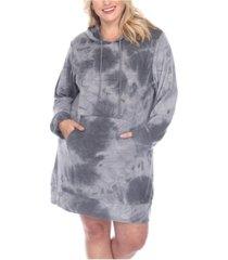 white mark women's plus size hoodie tie dye sweatshirt dress
