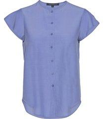 ery crepe sslv shirt kortärmad skjorta blå french connection