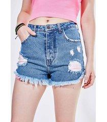 short hot pants em jeans médio