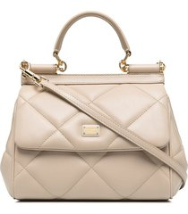 dolce & gabbana diamond-quilt tote bag - neutrals