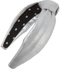 lele sadoughi faux leather knotted headband, size one size - metallic