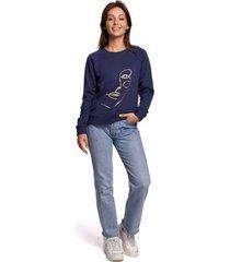 sweater be b167 pullover top met print vooraan - blauw